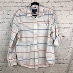 American Rag Lng Slv Striped Shirt Wht Blu & Red L